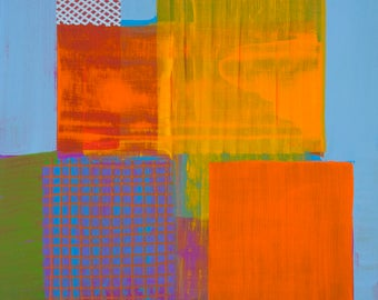 Modern Aerial Map Abstraction Original Painting on Board Detroit 4