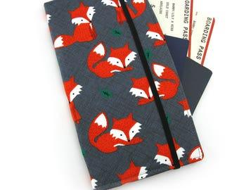 Travel Document Wallet, passport holder, family travel wallet, travel organizer, passport wallet - Orange Fox