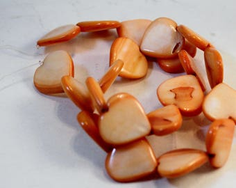 Orange Dyed Mother-of-Pearl Shell Puffed Heart Beads, 20mm, 15-inch strand, Wholesale Beads