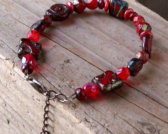 Red Beaded Bracelet - Beaded Bracelet - Womens Bracelet - Boho Bracelet - Bead Jewelry - Red Bracelet - Adjustable Bracelet - Gift for Her