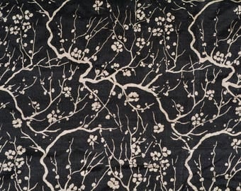 Thai silk VINTAGE SILK Asian motif black silk Fabric Handwoven