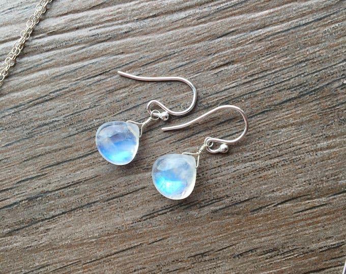 Flashy Smooth Rainbow Moonstone HEart Littles Earrings Bridal Bridesmaid Wedding Gift Minimalist Delicate Dainty Special