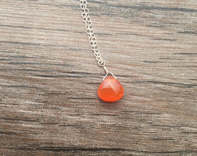 Smooth Orange Carnelian Teardrop Littles Necklace MInimalist Delicate Dainty
