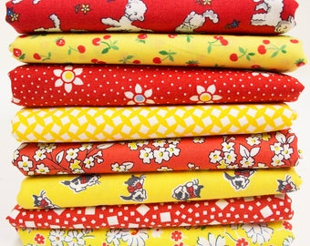 1930's Reproduction Feedsack Fabric Bundle - Red & Yellow