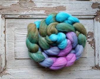 Roving (Top) braid of spinning fiber - Targhee 80 silk 10 Bamboo 10 blend  colorway FAIRY TALE