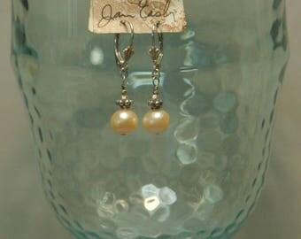 Light peach fresh water pearls, peach Swarovski crystal and Bali sterling silver beaded earrings for pierced ears