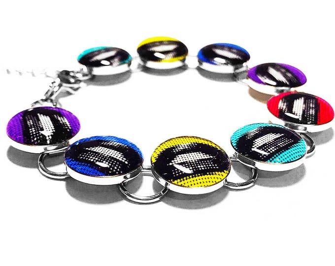 Pop Art Jewelry, Lips Bracelet, Colorful, Retro, Resin Bracelet, Silver Bracelet, Pink, Purple, Yellow, Teal, Blue, Retro Jewelry, Handmade