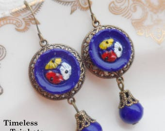 Vintage Glass Button Earrings, Royal Blue, Daisy, Mums, Red, White, Yellow, Antique Brass Ox