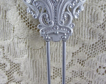 Antique Victorian Early 1900's Silvertone Metal Decorative Hair Pin/Comb with Rhinestone Shimmer Mint Condition Hair Accessory