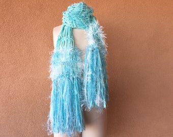 Robins Egg Blue Scarf, Aqua Scarf Light Turquoise Scarf Light Teal Scarf Warm Knit Scarf Accessories for Women Scarves Gift Women Light blue