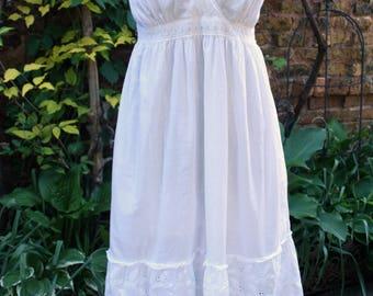 Peasant dress lace trim cotton white boho sleeveless large white cotton fancy eyelet