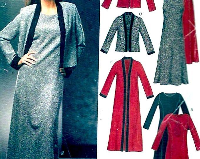 Dress long cardigan jacket sewing pattern New Look 6305 Modern Autumn Fall fashion Size 10 to 22 UNCUT
