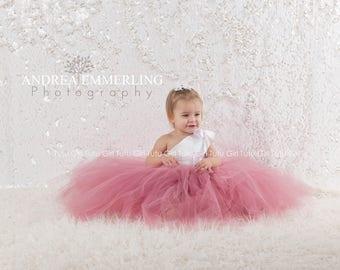Dusty Rose Flower Girl Dress Dusty Rose Junior Bridesmaid Dress, Tulle Dress Tutu Style Mauve White