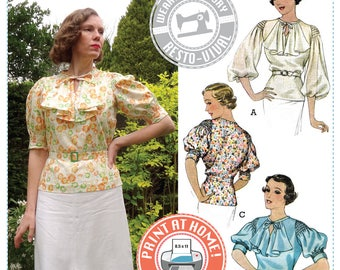 E-PATTERN- Mid 1930's Nanette Blouse Pattern- Wearing History PDF Sewing Pattern Download