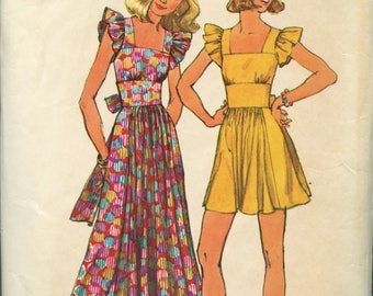 Vintage 1970s Does 1940s Pinafore Style Dress Pattern- Simplicity 5670- Size 12- Bust 34