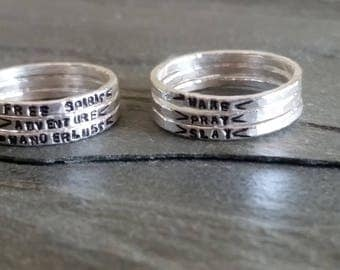 Stamped Silver Rings,Customizable Rings,Hypoallergenic Rings,Stackable Silver Rings,Customizable Mom Ring,Pure Silver Ring,Silver Mom Ring