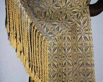 Handwoven Silk Scarf, Midnight Blue and Gold, Shimmery Star Pattern