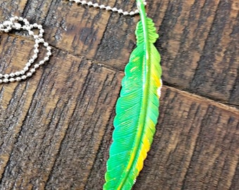 Green Feather  Pendant - feather necklace