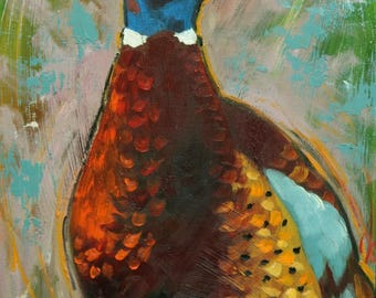 Pheasant painting 22 12x16 inch original oil painting by Roz