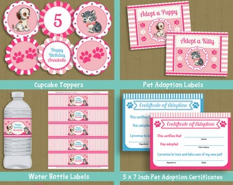 Pawty Party - cute kitten puppy theme pet adoption party birthday invitation & decorations  INSTANT DOWNLOAD P-23 set 1 - with editable text
