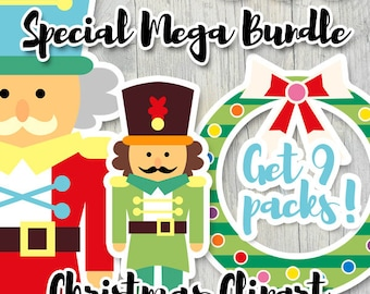 Commercial use Christmas clipart sale / clip art for planner stickers, die-cut, craft / nutcrackers, family, penguins clipart download