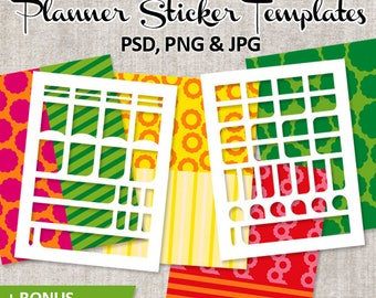Make your own planner stickers / DIY kit printable plan sticker template blank, Erin Condren Life Planner, Commercial use photoshop template