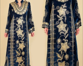 Vintage 60's 70's Gold Embroidered Blue Crushed Velvet Maxi Dress // Turkish Henna Night // Woodstock Era Rare Rocker Bohemian Mod Small S