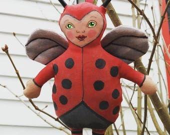 Love Bug Doll Valentine's Day Lady Bug Hand Painted Stuffed Plushie Folk Art Cloth Doll Ornament