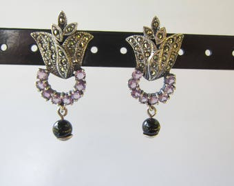 Vintage Sterling Silver Tulip Shape Drop Earrings With Marcasites and Amethyst Stones     1784
