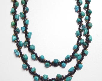 turquoise nuggets necklace,turquoise nugget beaded necklace,turquoise nugget gemstone necklace,turquoise stone jewelry,gemstone jewelry
