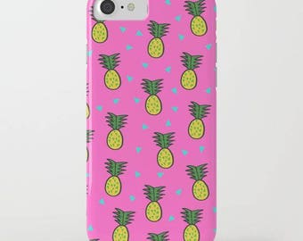cute iphone case for her-pineapple design-hot pink-pineapple pattern-fruit-trendy iphone cover for teen girls-electronic gadget for her