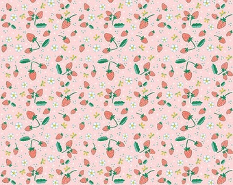 Pink Bunnies Strawberries - Bunnies & Blossoms collection by Lauren Nash for Penny Rose Fabrics - 100% cotton quilting fabric by the yard