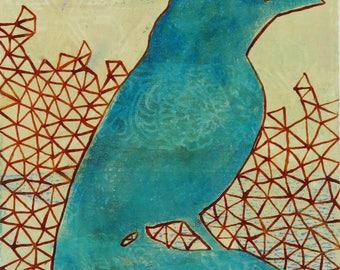 Bird Illustration Songbird Ivory Wings Turquoise Triangle Geometric Blue Cream Painting Monoprint Monotype Print Wall Hanging Decor Fine Art