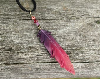 Purple Pink Feather - Leather Fantasy Bird Feather Pendant - 3 inches