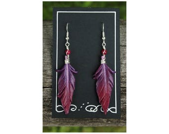 Purple and Pink Feathers - 2 Inch Leather Feather Earrings - Hand Painted Leather Bird Feather Earrings