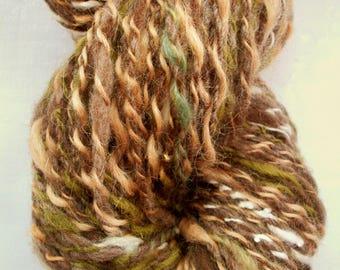 Handspun art yarn, chunky, various wools, hand dyed woodland colours by SpinningStreak