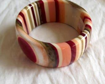 Vintage Bangle Pink Cream Maroon Brown Layer Stripe Pattern Early Plastic Bracelet Mod Bangle Sobral Style