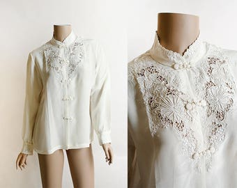 Vintage Silk Chinese Blouse - Cream White Embroidered Long Sleeve Silky Button Up Blouse - Floral Lace - Small Medium