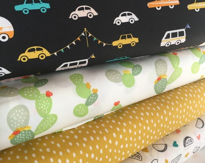 DayTrip Fabric Bundle, Cactus Party, Camper, Taco fabric, Black, Cactus Wedding Decor,  Rustic Home Decor, Bundle of 4, Choose the Cuts