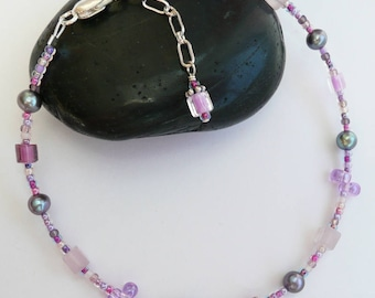 Handcrafted Artisan Eclectic Pink Quartz Multi Colored Bohemian Glass Fresh Water Pearl Sterling Silver OOAK Funky Summer Boho Anklet