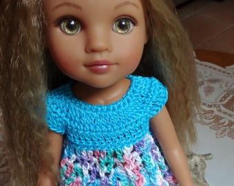 Crochet Baby Doll Top for H4H AG Wellie Wisher 14 15 inch doll Turquoise Pink Purple Blue Green Lavender