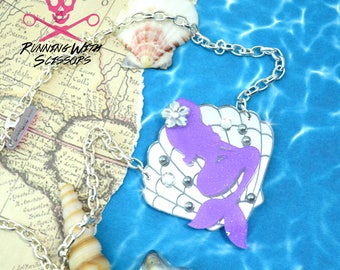 MERBABE - Laser Cut Acrylic - Seashell Necklace - Lavender and Silver Mirror