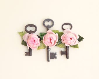 Embellished antique key, Flower key charm, Pretty little thing, Vintage key pendant, Gift for her, Shabby chic, Talisman, Good luck charm