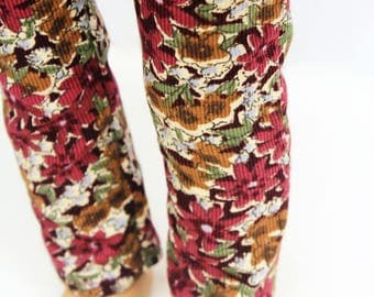 Fits like American Girl Doll Clothes - Burgundy Floral Skinny Corduroy Pants