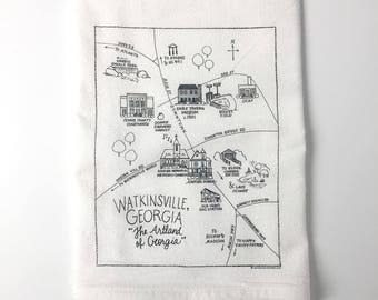 Watkinsville, Georgia Map Flour Sack Towel