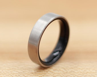Titanium Ring Lined with Ebony- Wedding Band - Unique Wedding Ring