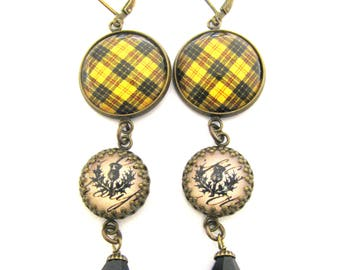 Scottish Tartan Jewelry - Ancient Romance - MacLeod of Lewis Clan Tartan Earrings w/Luckenbooth Charms and Onyx Black Czech Glass Crystals
