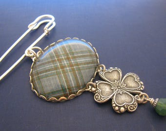 Irish Tartan Jewelry  - Ancient Romance Series - Kelly Kilt Pin Brooch with Embossed Clover Charm and Palace Green Opal Swarovski Crystal