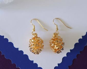 Gold Pinecone Earrings Small, Real Pinecones, Gold Pinecones, Pinecones, Gold Redwood Pinecone Earrings, PC24