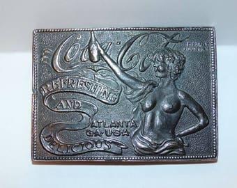 Vintage Coca Cola Belt Buckle, Metal, Victorian Lady, Soda,